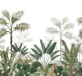 Esta Home Paradise Fotobehang 158951 Jungle White & Green/Panter/Botanisch/Natuurlijk