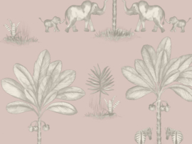 BN Wallcoverings Doodleedo Behang 220750 It Takes Two/Tropical/Dieren/Olifant/Palm/Kinderkamer