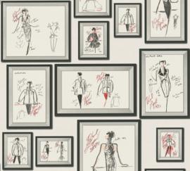 AS Creation Karl Lagerfeld Behang 37846-3 Schetsen/Mode/Fotolijst