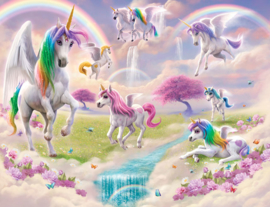Walltastic 2020/Dutch Wallcoverings Fotobehang 46245 Magical Unicorn/Eenhoorn/Sprookje/Regenboog/Meisjes/Roze/Kinderkamer Behang
