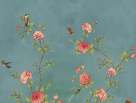 BN Wallcoverings/Voca Fiore Mural 200456 Rose Garden/Bloemen/Rozen/Vogels Fotobehang