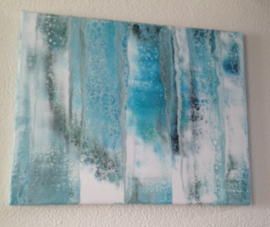 Canvas Schilderij 5 Pastel/Blauw/Wit/Vintage/Modern
