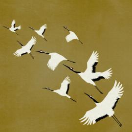 Origin Natural Fabrics Fotobehang 357236 Cranes/Vliegende Kraanvogels/Dieren/Natuurlijk