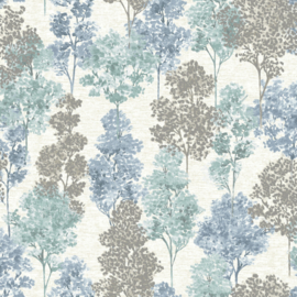 Dutch Wallcoverings First Class Elements Behang 90382 Whinfell Soft Teal Blue/Bomen/Natuur