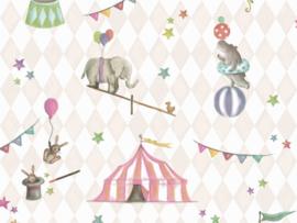 BN Wallcoverings Doodleedo Behang 220740 Join The Circus/Mix & Match/Ruiten/Sterren/Dieren/Kinderkamer