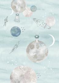 Behangexpresse Sofie & Junar Fotobehang INK7631 Too the Moooon Blue/Maan/Raket/Space