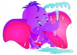Noordwand  Little Ones Behang 418039 Purple Dumbo/Olifant/Dieren/Kinderkamer Fotobehang