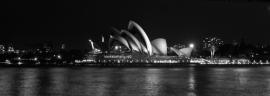 Fotobehang. Australie-Sydney-panorama1-grijstint