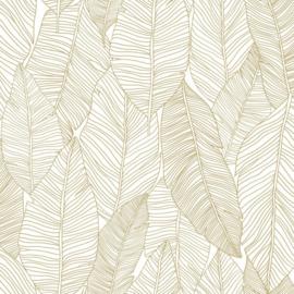 Esta Home Black & White Behang 155-139125 Botanisch/Bladeren/Natuurlijk/Wit/Goud