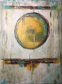 Schilderij 18/Kunst/Cirkel/Vintage/Verweerd/Modern/Industrieel/Landelijk