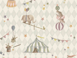 BN Wallcoverings Doodleedo Behang 220742 Join The Circus/Mix & Match/Ruiten/Sterren/Dieren/Kinderkamer