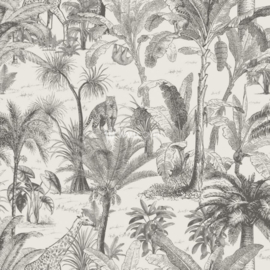 Dutch wallcoverings Odyssee Behang L97109D Safari/Dieren/Olifant/Giraf/Botanisch