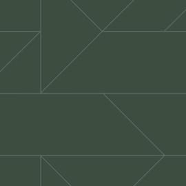 Origin City Chic Behang 353-347728 Grafisch/Modern/Lijnen/Donker Groen