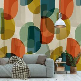 Behangexpresse Colorful Behang INK7305 Warm Retro/Modern/60/70 Jaren Fotobehang