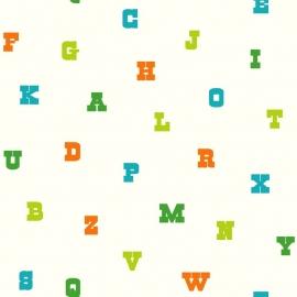 Esta Giggle Behang 137324 Letters/Alfabet/Fantasie/Multi Colors/Kinderkamer