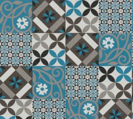 AS Creation New Life Behang 37684-2 Tegel/Mozaiek/Modern/Landelijk/Blauw