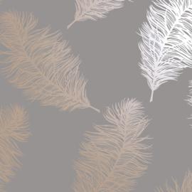 Dutch Wallcoverings Indulgence Behang 12629 Fawning Feather Grey Rosegold/Veren