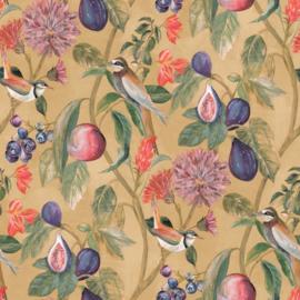 Dutch Wallcoverings/First Class Utopia Behang 91080 Aruba Ochre/Botanisch/Vogels/Vruchten/Tropisch