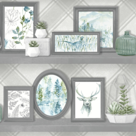 Dutch Wallcoverings Kaleidoscope Behang 90630 Aberfeldy Grey/Teal/Modern/Botanisch/Lijsten