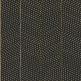Esta Home Black & White Behang 155-139136 Visgraat Motief/Modern/Streep/Zwart/Goud