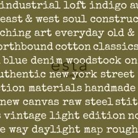 Esta Home Denim & Co Behang 137705 Grafisch/Industrieel/Tekst/Legergroen Behang