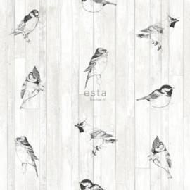 Esta Home Greenhouse Behang 143-128834 Natuurlijk/Landelijk/Vogels/Hout