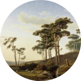Painted Memories 2 Fotobehang Circle 8042C Eveningmood with a Shepherd/Bomen/Schapen/Natuur Dutch Wallcoverings