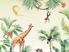 BN Studios/BN Wallcoverings Creative Lab Amsterdam Murals Fotobehang 200394 Jungle Time/Giraf/Zebra/Toekan/Dieren