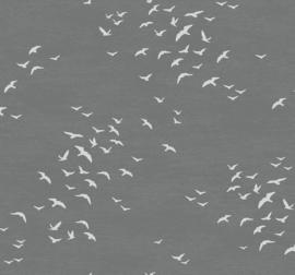 Dutch Wallcoverings Navy, Grey & White Behang BL70408 Meeuwen/Vogels/Lucht/Grijs