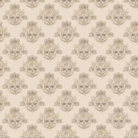 Noordwand Grunge Behang G45367 Skull/Doodshoofd/Tiener/Bruin