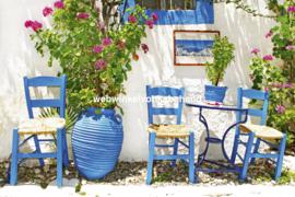 Dimex Fotobehang Traditional Greece MS-5-0087 Griekenland/Vintage/Huizen/Stoel/Romantisch