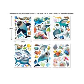 Walltastic 2020/ Decor Kit/ Sea adventure 45453 Zee/Onderwaterwereld/Vissen/Dolfijn/Kinderkamer Stickers