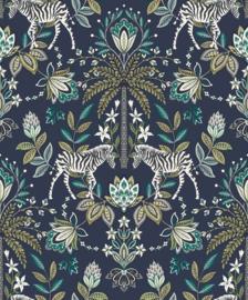Dutch Wallcoverings/First Class Utopia Behang 91091 Etosha Navy/Natuurlijk/Planten/Botanisch/Zebra/Dieren