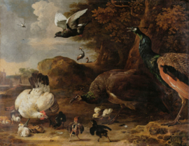 Painted Memories 2 Fotobehang 8046 The Threatened Hen/Kippen/Vogels/Dieren Dutch Wallcoverings
