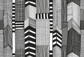Hookedonwalls  Marimekko Behang 14111 Ruutukaava/Grafisch/Modern/Zwart