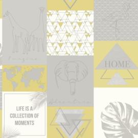 Dutch Wallcoverings/First Class Utopia Behang 91161 Adventure Yellow Grey/Olifant/Grafisch/Giraf/Modern