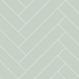 Esta Home Art Deco Behang 156-139221 Visgraat/Hout/Planken/Modern/Landelijk/Mintgroen