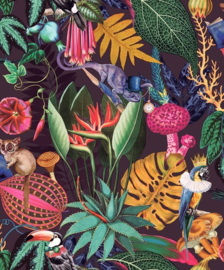 Dutch Wallcoverings/First Class Utopia Behang 91172 Reverie Purple/Botanisch/Bloemen/Diren/Vogels/Gekko