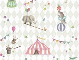 BN Wallcoverings Doodleedo Behang 220741 Join The Circus/Mix & Match/Ruiten/Sterren/Dieren/Kinderkamer
