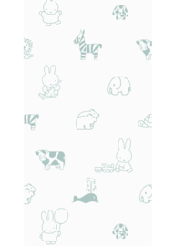 Kek Nijntje WP-504 Miffy Animals Green Behang - Dutch Wallcoverings/Kek Amsterdam