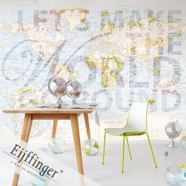 Eijffinger Wallpower Wonders Behang 321505 The World Go Round/Tekst Fotobehang