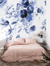 KEK Amsterdam II Fotobehang WP-209 Royal Blue Flowers/Blauwe Bloemen