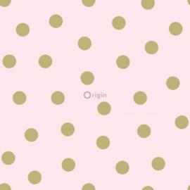 Origin Precious Behang 352-347677 Stippen/Dots/Polka/Kinderkamer/Roze/Goud