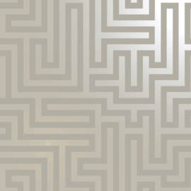 Dutch Wallcoverings Indulgence Behang 12911 Glistening Maze Taupe/Labyrinth/Geometrisch