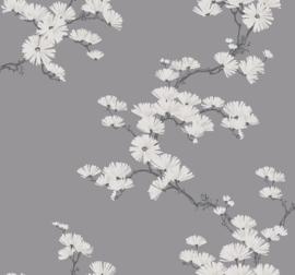 Dutch Wallcoverings Navy, Grey & White Behang BL70508 Bloemen/Floral/Takken/Botanisch