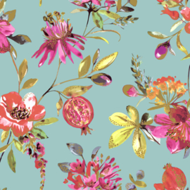 Dutch Wallcoverings First Class Elements Behang 90430 Punica Soft Teal/Botanisch/Tropisch/Vrucht/Bloemen