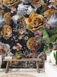 Behangexpresse Floral-Utopia Fotobehang INK7572 Lush Heritage Dark/Craquele effect/Bloemen