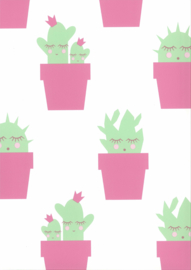 Noordwand Fabulous World Behang 67102-3 Cactus/Planten/Roze/Groen/Kinderkamer