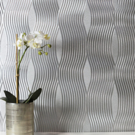 Arthouse Illusions   294501 Wave/Modern/Zilver Behang - Atwalls