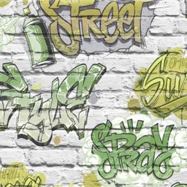 Freestyle L17904 Legergroen/Bakstenen/Graffiti Behang -Dutch Wallcoverings